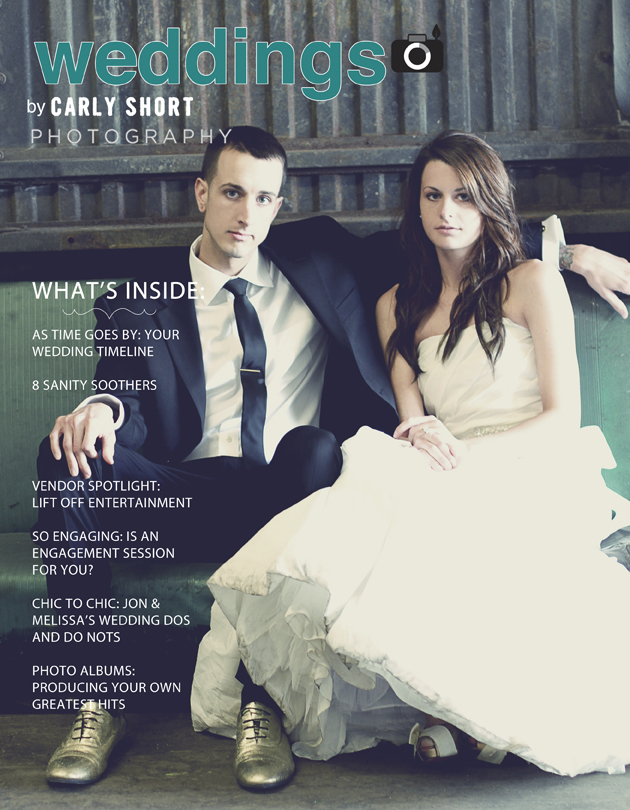 Magazine cover of a wedding couple on old car seat